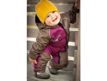 Dětská rostoucí softshellová kombinéza - malinová