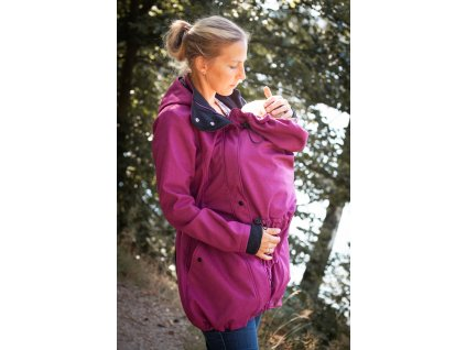 Dámský softshellový kabát na nošení dětí - malinový melír