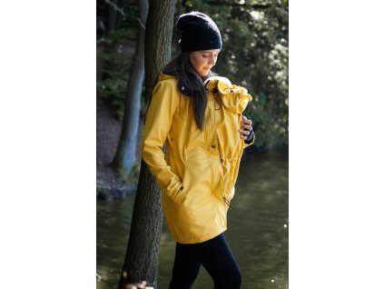 Dámský softshellový kabát na nošení dětí - žlutý melír