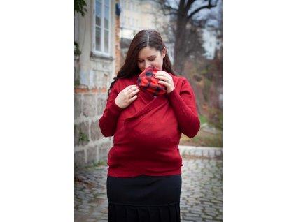 Zavinovací svetr z merina - červený