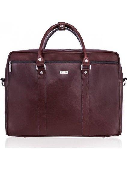 Pánská kožená hnědo-bordová taška SOLIER (SL03 BROWN-MAROON)