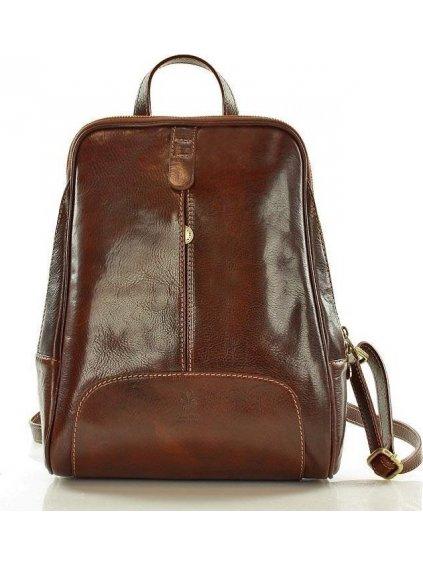 MAZZINI Tmavě hnědý kožený batoh (pl30c)