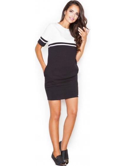 Smetanové oversize šaty M400 Black-ecru