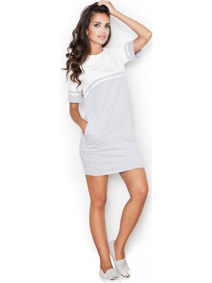 Šedé oversize šaty M400 Grey-ecru