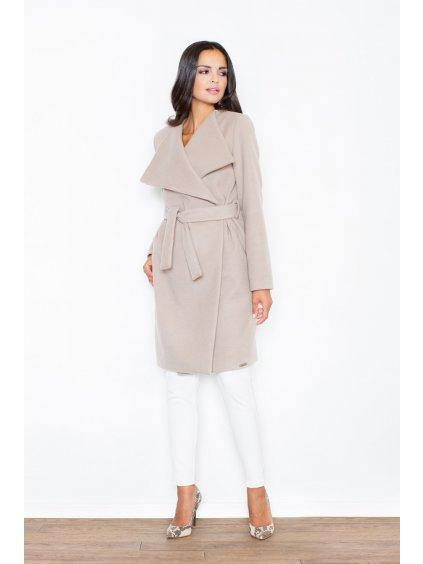 Elegantní kabát s páskem M408 Beige