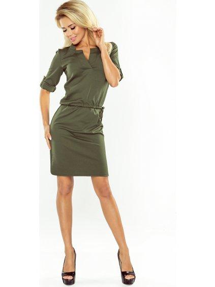 Khaki šaty s límečkem AGATA 161-2