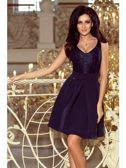 Tmavě modré šaty s hlubokým výstřihem 208-1