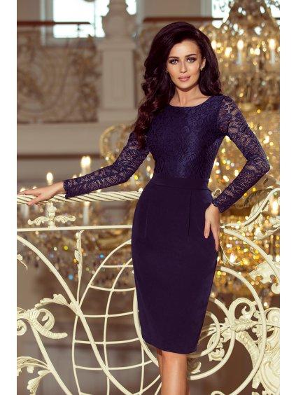 Elegantní tmavě modré šaty s dlouhým rukávem 216-1