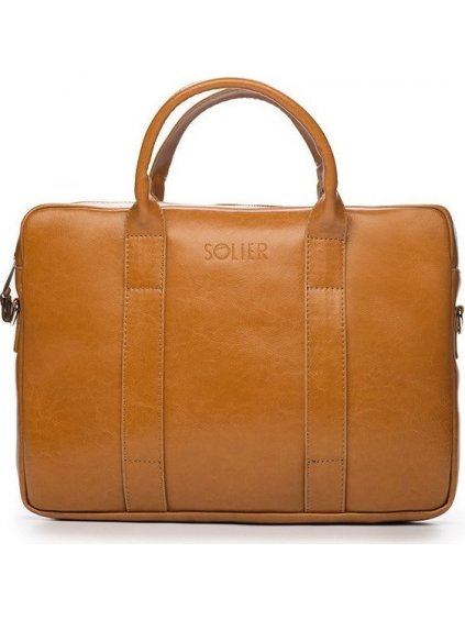 Pánská kožená hnědá taška SOLIER (SL20 CAMEL)