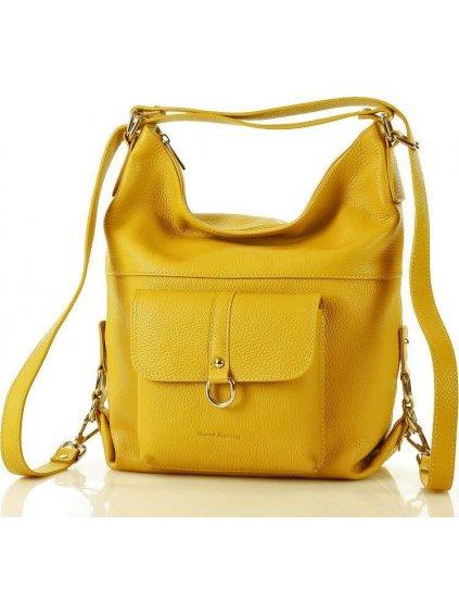 Žlutá kožená taška - batoh Alessia (s116d)