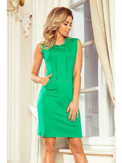 Zelené  šaty s klokaní kapsou MM 009-7