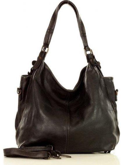 MARCO MAZZINI Městská kožená kabelka black (v47a)
