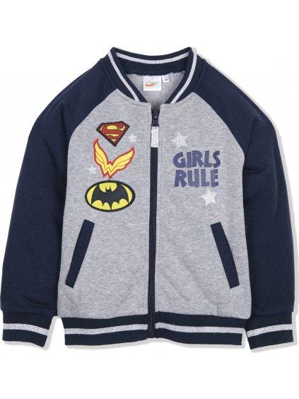 SUPER GIRLS DÍVČÍ ŠEDÁ MIKINA NA ZIP