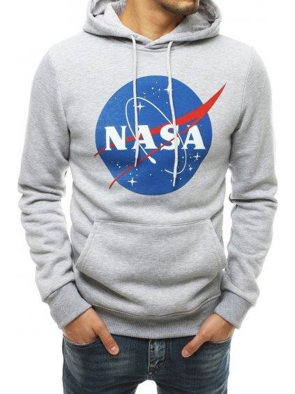ŠEDÁ MIKINA S KAPUCÍ NASA