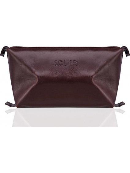 Pánská kožená hnědá taška SOLIER (SK01 BROWN-MAROON)
