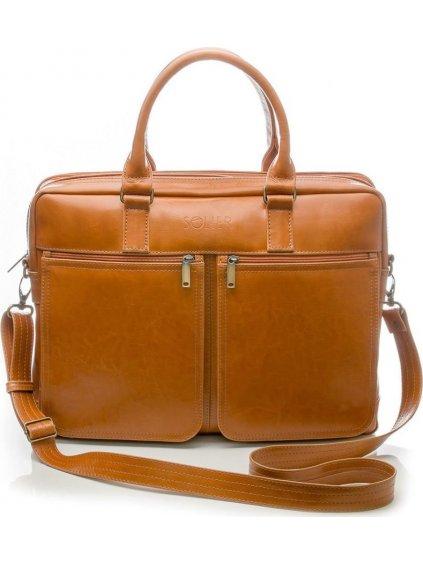 Pánská kožená hnědá taška SOLIER (SL01 camel)
