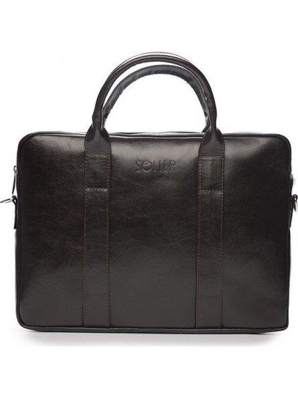 Pánská kožená hnědá taška SOLIER (SL20 dark brown)
