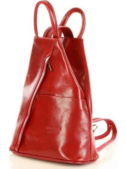 Dámský kožený červený batoh (Pl2d)