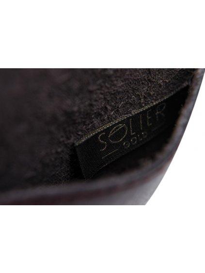 Kožená bordovo-hnědá peněženka na mince SOLIER (SA10 mar)