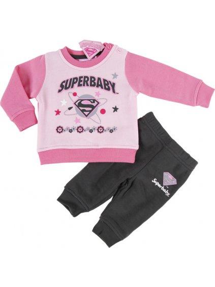 SUPER BABY DÍVČÍ SVĚTLE RŮŽOVÁ TEPLÁKOVÁ SOUPRAVA