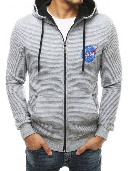 ŠEDÁ MIKINA NA ZIP NASA