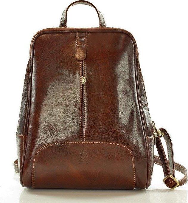 MAZZINI Tmavě hnědý kožený batoh (pl30c) velikost  univerzální 11e96f6d4a
