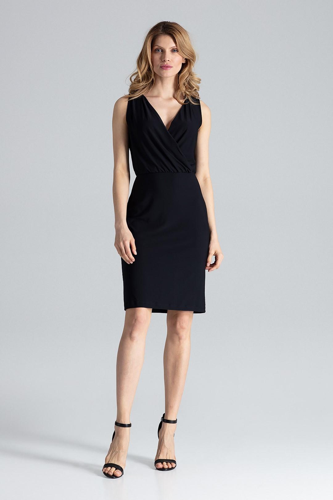 0482e921e9a FIGL Černé šaty s překládaným hlubokým výstřihem - M135 velikost  XL
