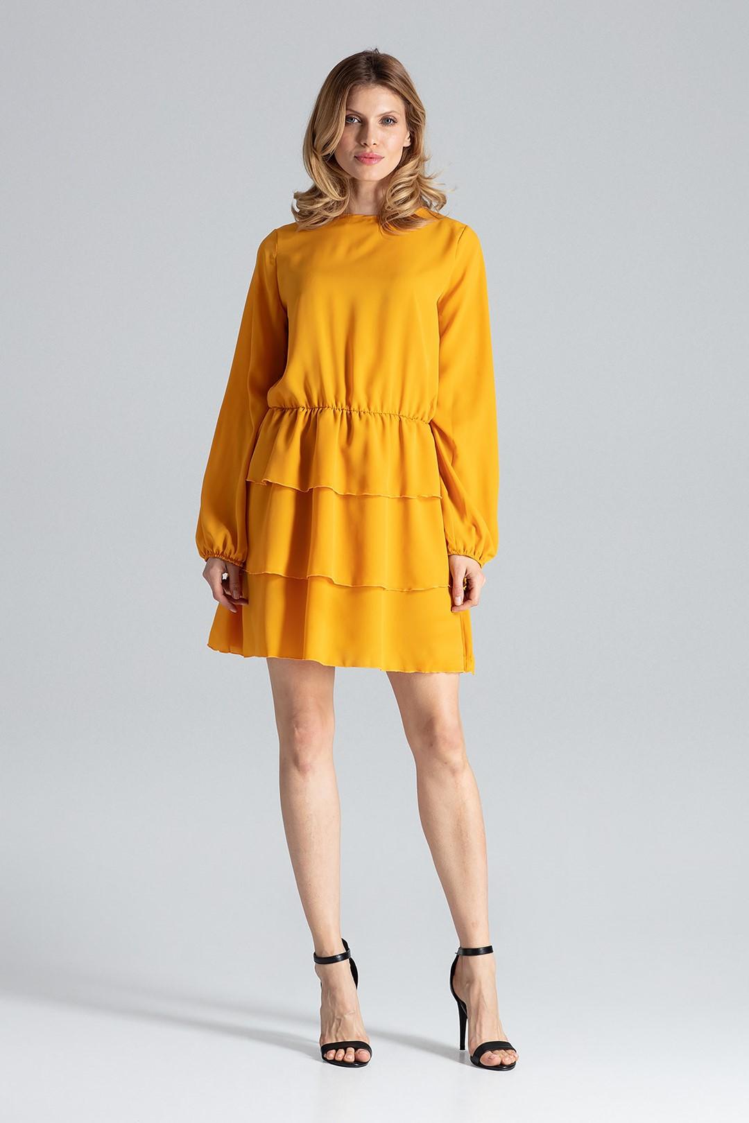 FIGL Hořčicové skládané šaty M601 velikost: S, odstíny barev: žlutá