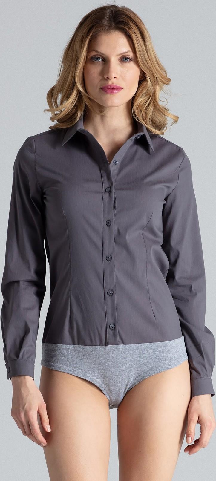 FIGL Dámská šedá košile body (M315) velikost: L, odstíny barev: šedá