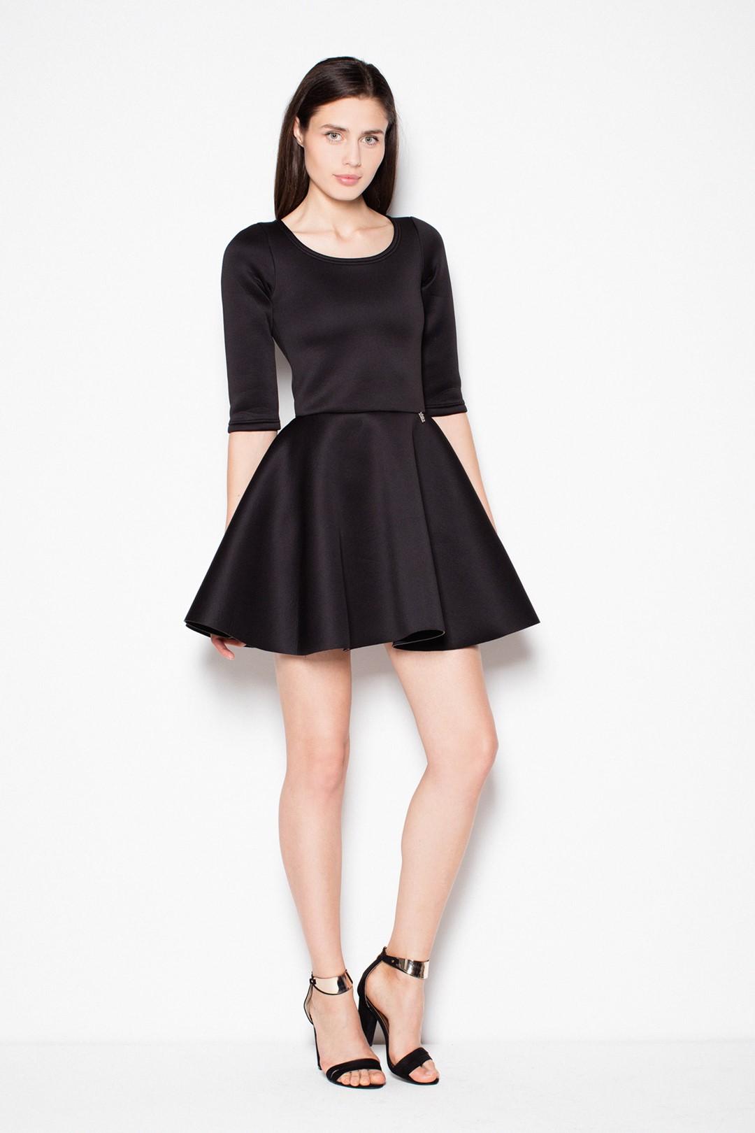 VENATON Černé mini šaty s 3 4 rukávy VT075 Black Velikost  L df4941b6adb
