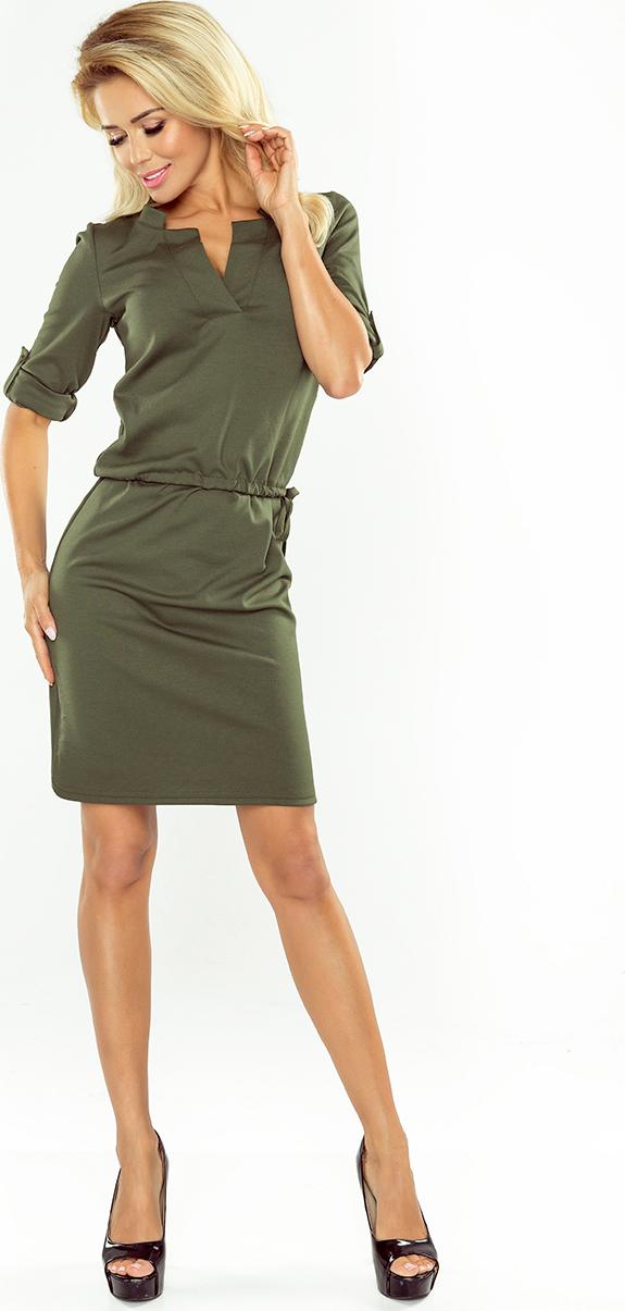 NUMOCO Khaki šaty s límečkem AGATA 161-2 velikost: XL