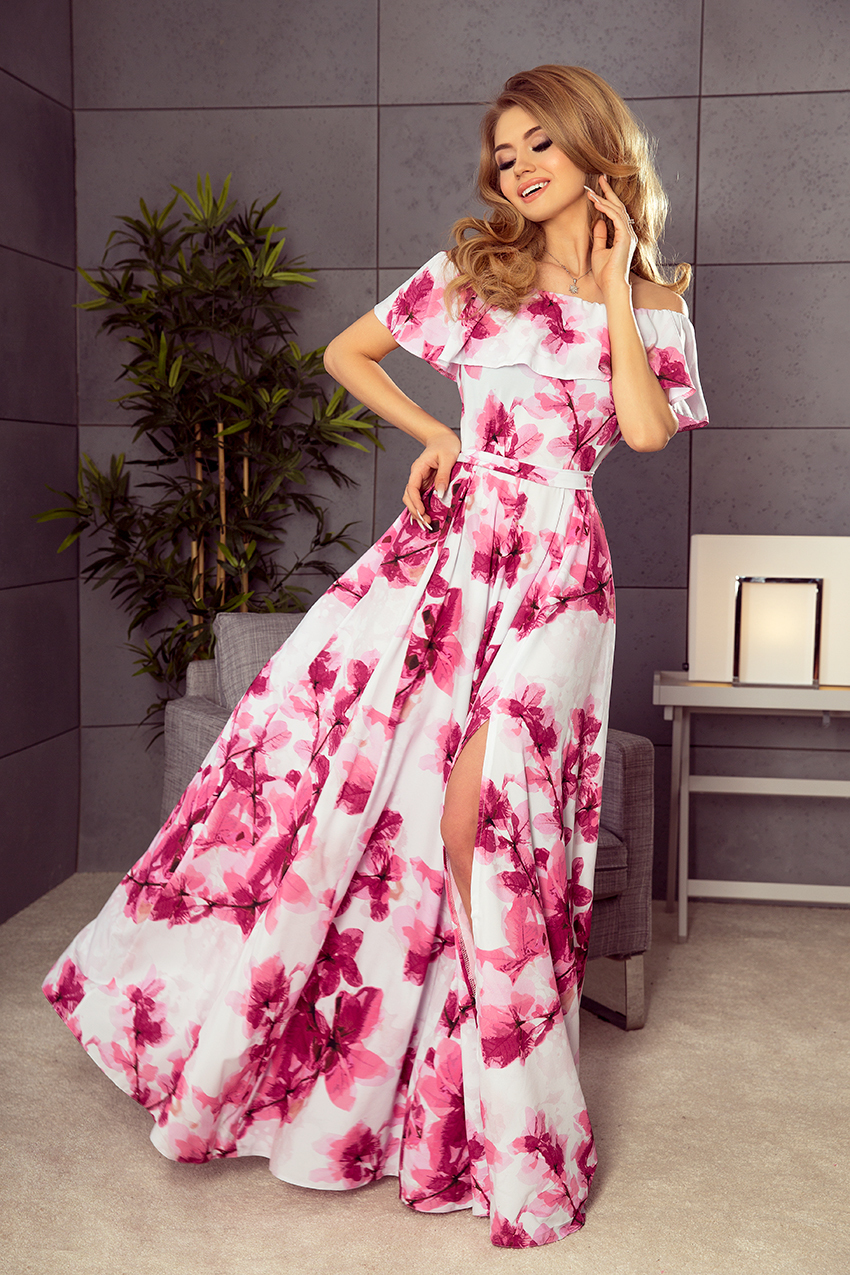 NUMOCO Dlouhé květinové šaty s volánem 194-2 velikost: M
