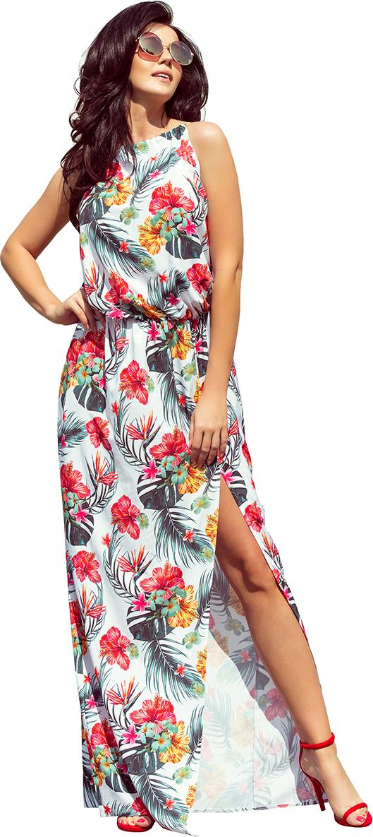 NUMOCO MAXI smetanové šaty s květy 191-4 velikost: S