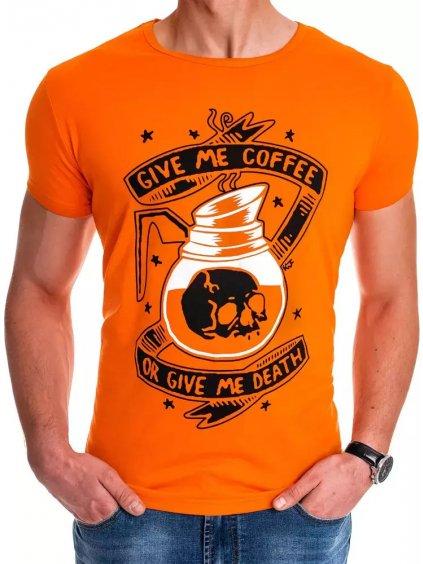 ORANŽOVÉ PÁNSKE TRIČKO GIVE ME COFFEE