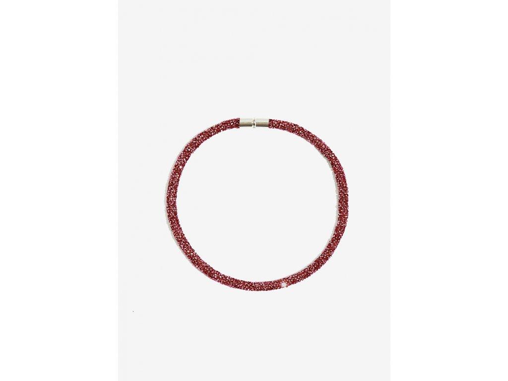 Třpytivý náhrdelník NALÍ CRISTALLI tmavě červený
