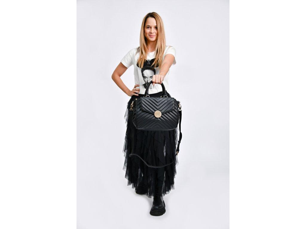 Prošívaná černá kabelka Bessie London