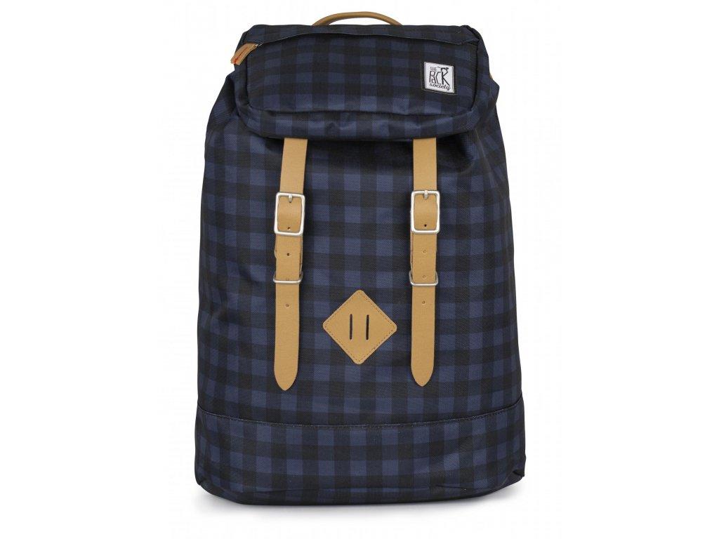 Modro-černý kostkovaný batoh THE PACK SOCIETY