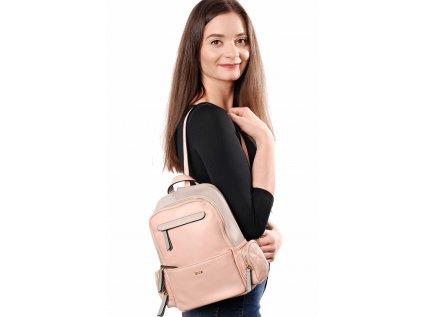 Šedo-růžový batoh Bessie London Peta