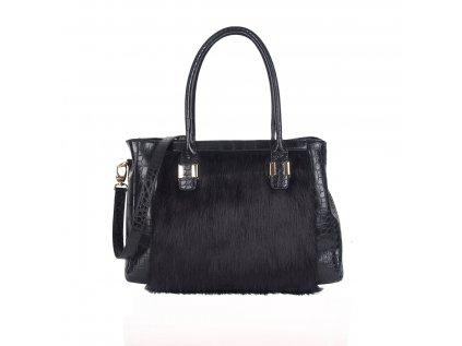 Černá  kabelka LYDC London s kožíškem