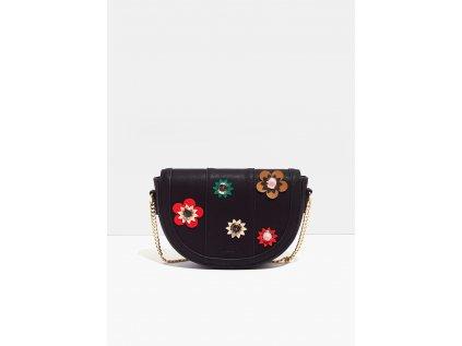 Malá černá kabelka Nalí s květinami