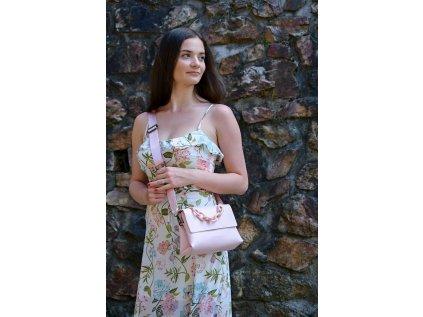 Světle růžová kabelka Claudia Canova Flapover
