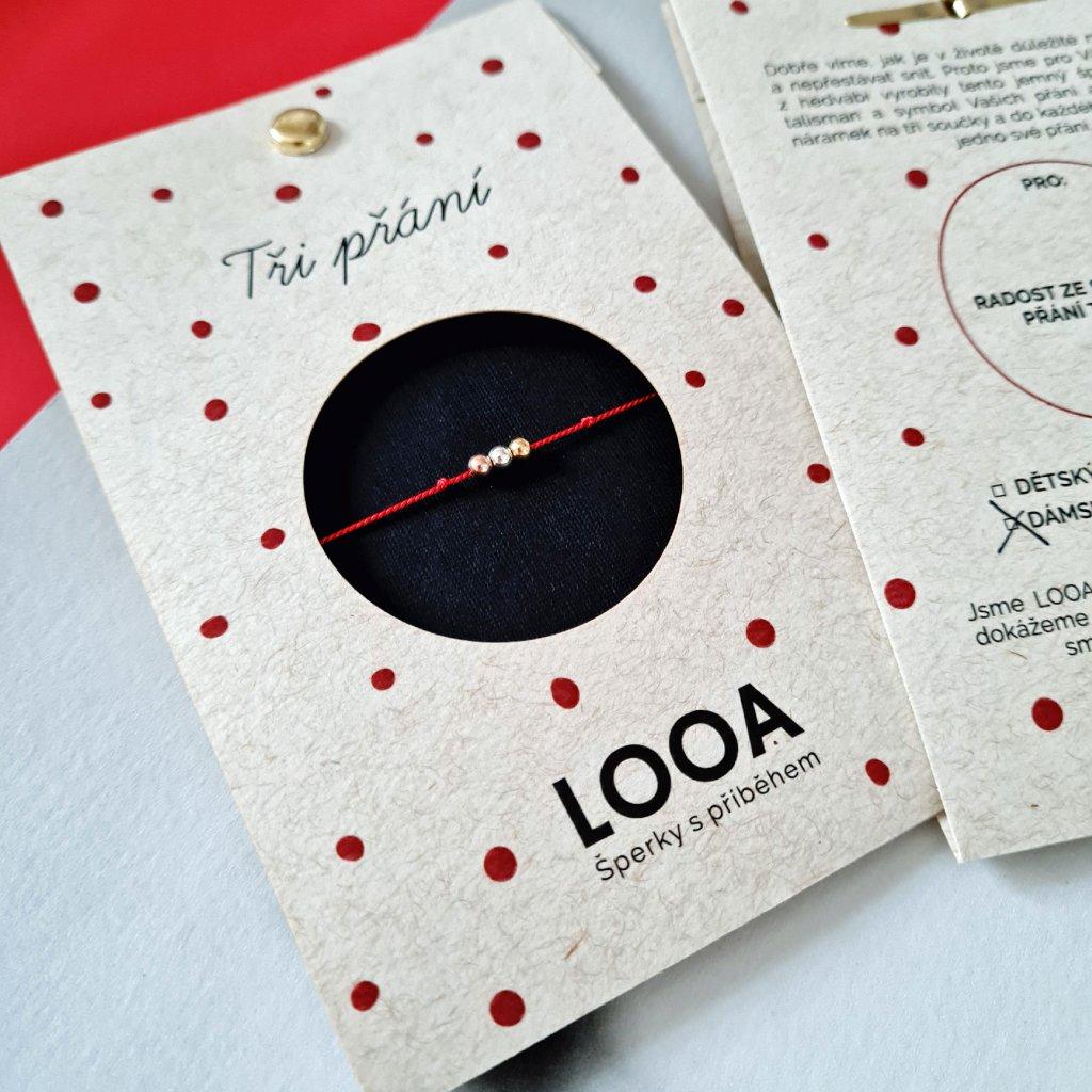 Náramek LOOA, tři přání, červená stříbro