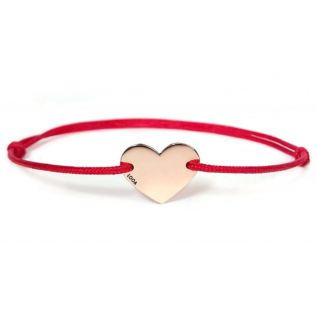 Srdíčko LOOA, zlato rosegold, červená