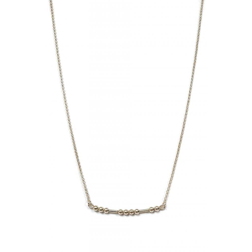 Morseův kód štěstí, stříbro, řetízek, LOOA