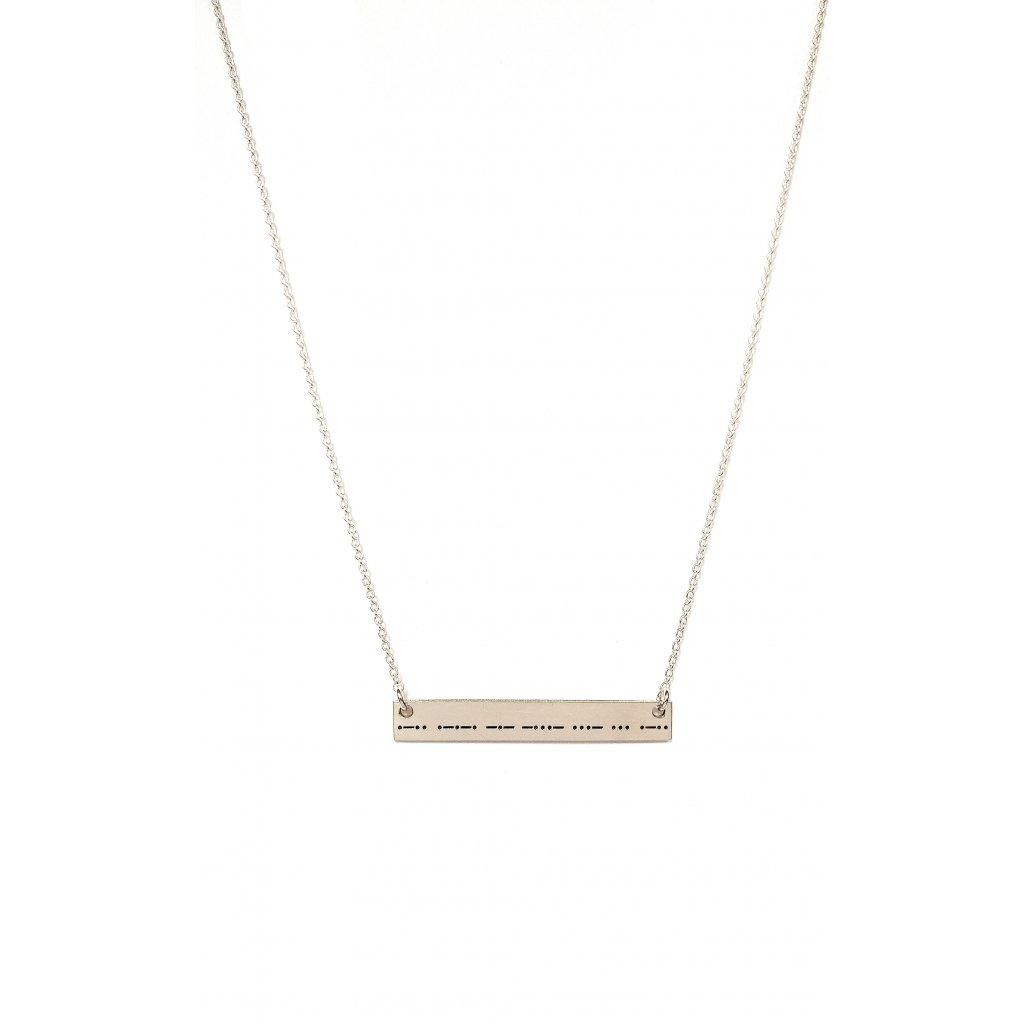 náhrdelník s morseovkou, stříbro, LOOA