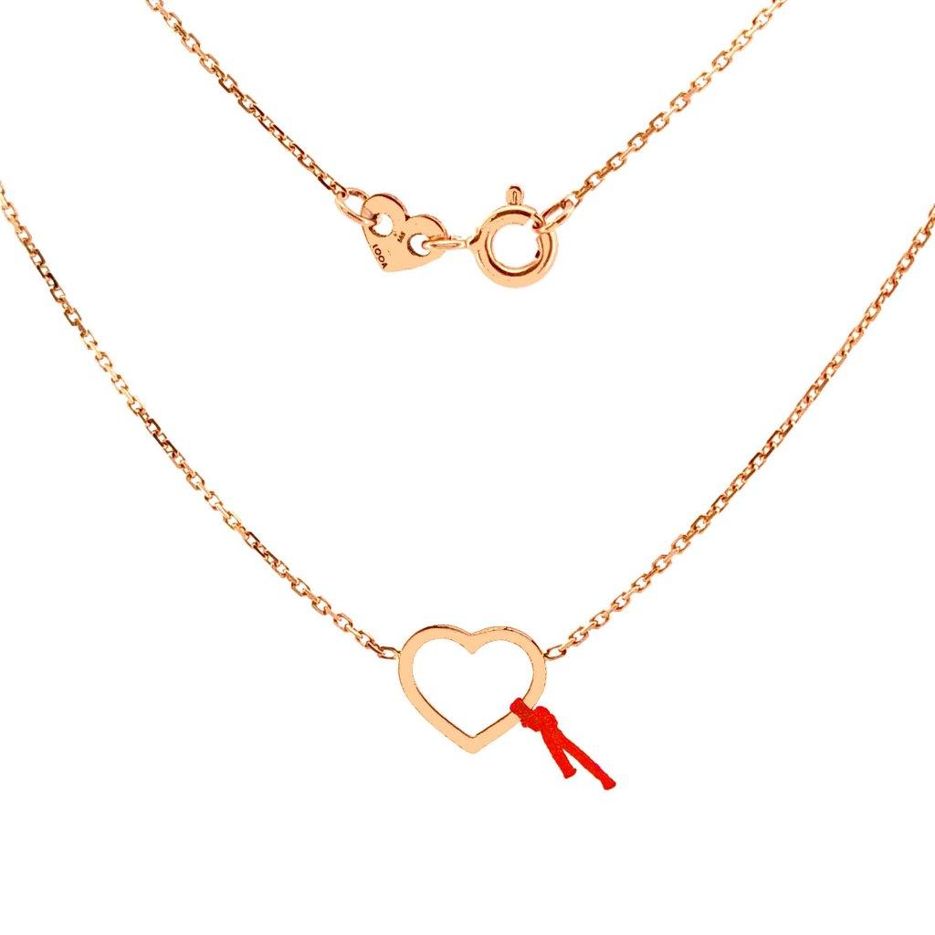 Srdíčko LOOA, stříbro, náhrdelník, detail