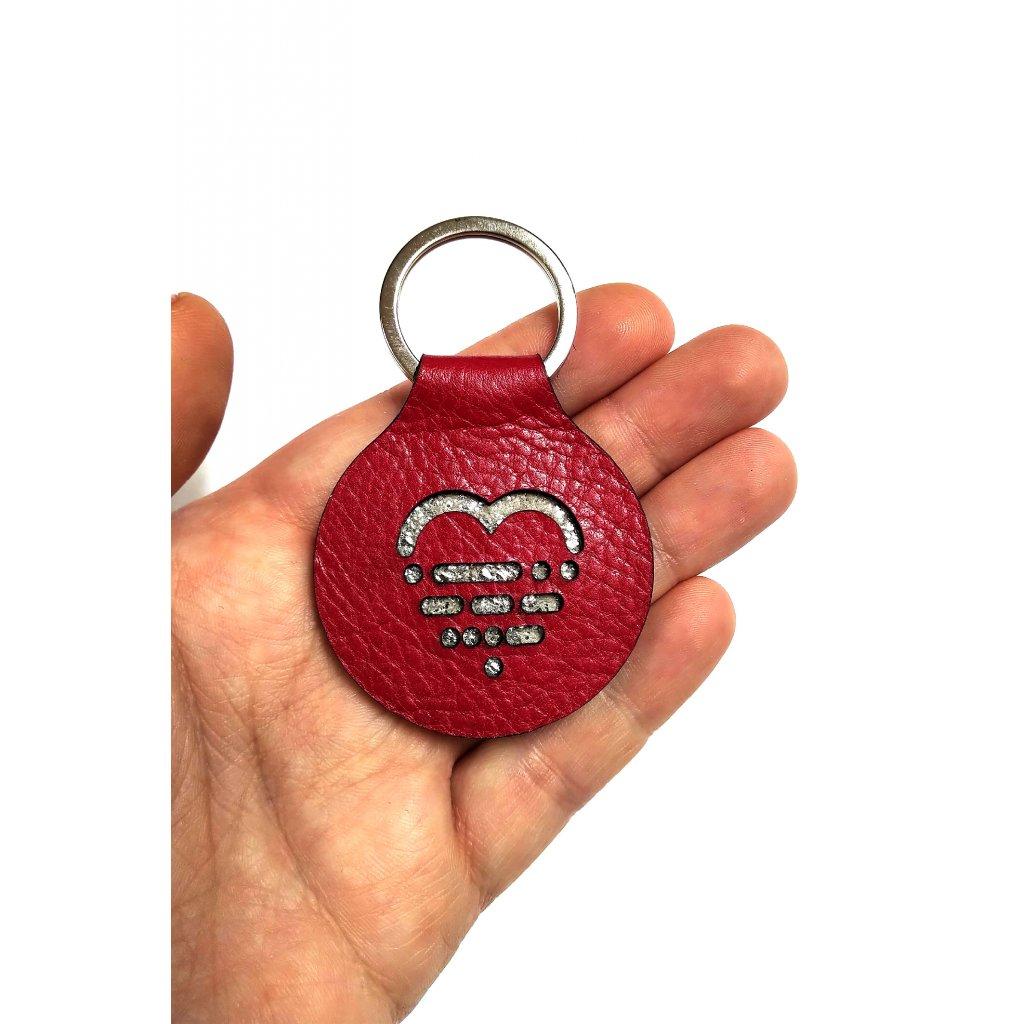 Klíčenka LOOA, červená stříbrná, žíhaná
