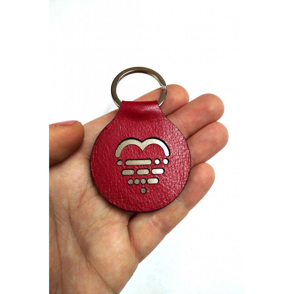 klíčenka LOOA, červená stříbrná