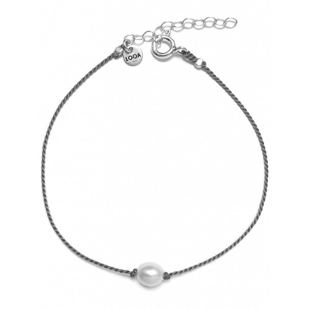 Náramek s perlou, LOOA, stříbro, šedá