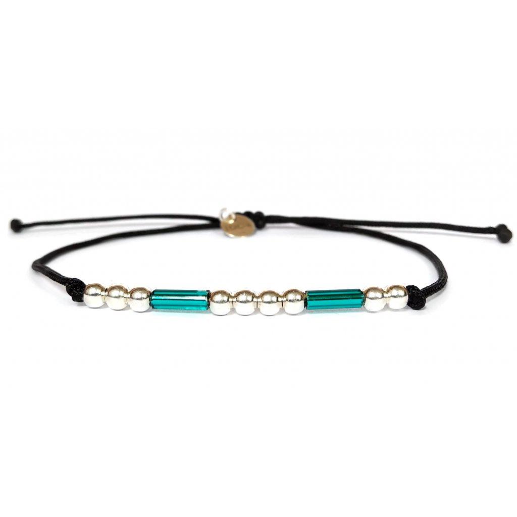 Náramek LOOA, Morseův kód štěstí, stříbro rokajl